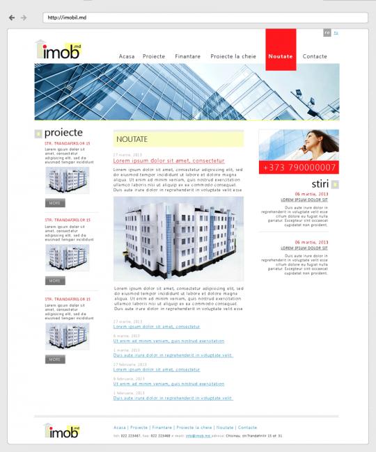 imobil.md - дизайн-макет, страница новостей