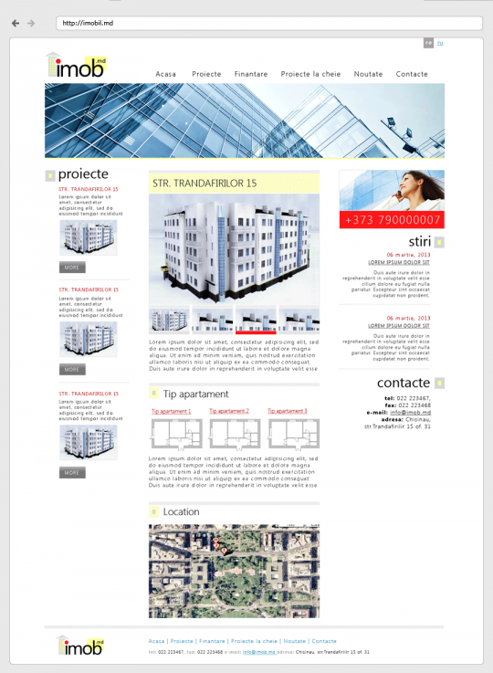 imobil.md - дизайн-макет, страница проекта